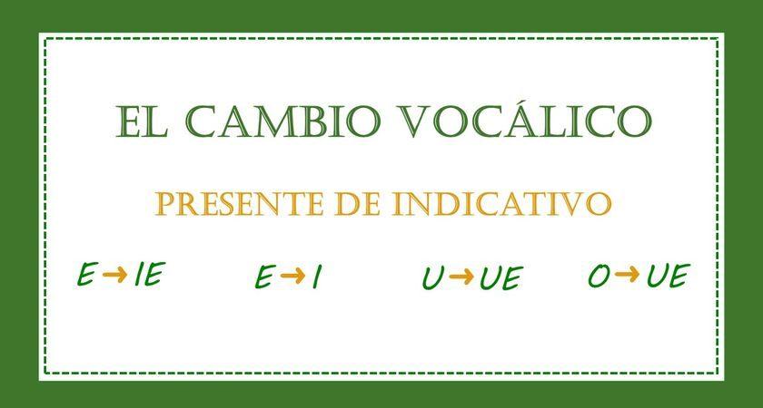 Cambios vocálicos en el presente simple de indicativo